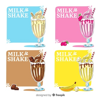 Collection de cartes de milkshake dessinés à la main