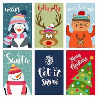Collection de cartes de noël avec des animaux et des souhaits