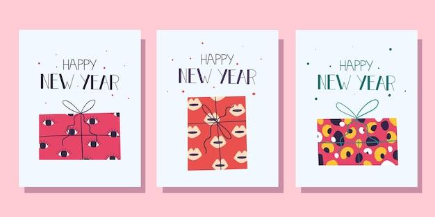 Collection de cartes de noël avec des cadeaux colorés