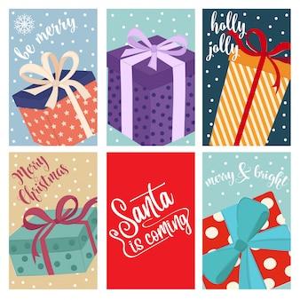 Collection de cartes de noël avec des coffrets cadeaux