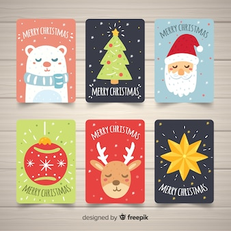 Collection de cartes de noël dessinées à la main