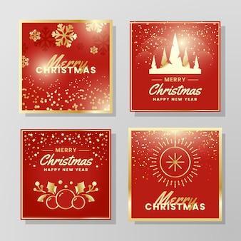 Collection de cartes de noël dorées