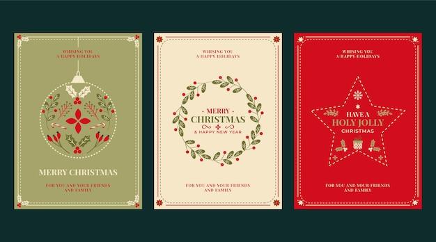 Collection de cartes de noël ornementales plates dessinées à la main
