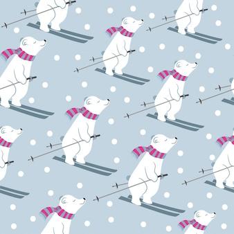 Collection de cartes de noël avec des ours polaires qui dérapent