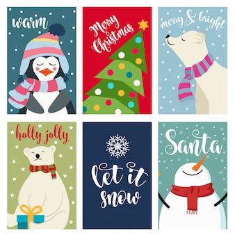 Collection de cartes de noël avec des ours polaires et des voeux