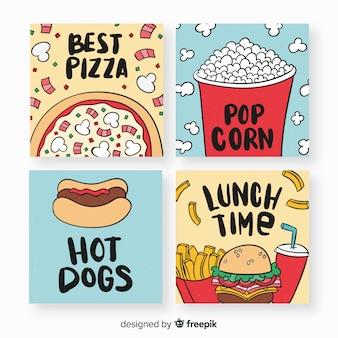 Collection de cartes de nourriture dessinés à la main
