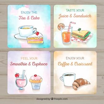 Collection de cartes avec de la nourriture différente