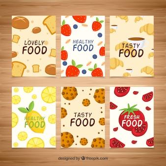 Collection de cartes de nourriture savoureuse avec un design plat