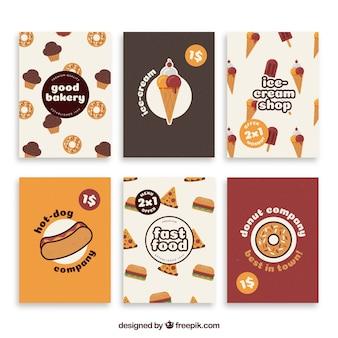 Collection de cartes avec de la nourriture
