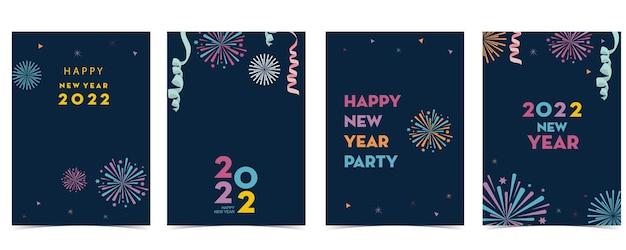 Collection de cartes de nouvel an avec feu d'artifice, cadre, étoile. illustration vectorielle pour affiche, carte postale, bannière, couverture