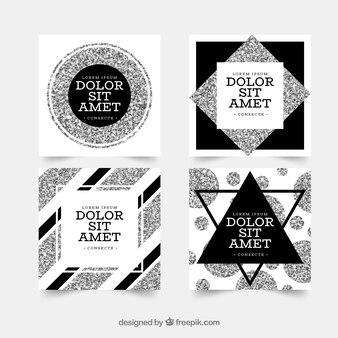 Collection de cartes à paillettes avec couleur argent