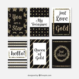Collection de cartes à paillettes avec couleur dorée