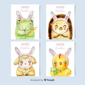 Collection de cartes de pâques aquarelle