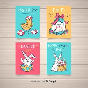 Collection de cartes de pâques au poulet et au lapin