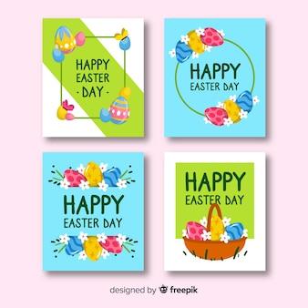 Collection de cartes de pâques colorées