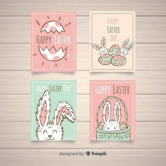 Collection de cartes de pâques de couleur pastel