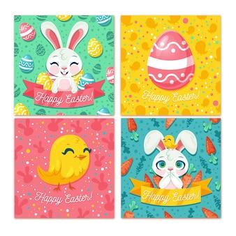 Collection de cartes de pâques design plat