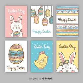 Collection de cartes de pâques dessinée à la main