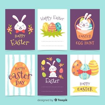 Collection de cartes de pâques dessinés à la main