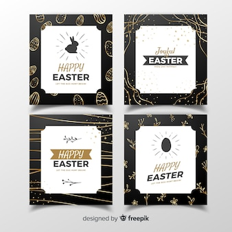 Collection de cartes de pâques avec détails dorés
