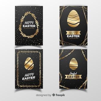 Collection de cartes de pâques dorées