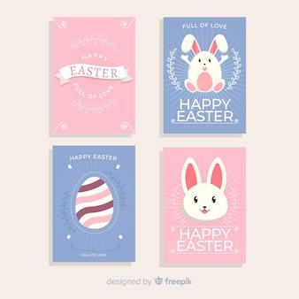 Collection de cartes de pâques de lapins et oeufs