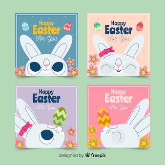 Collection de cartes de pâques mignon lapin