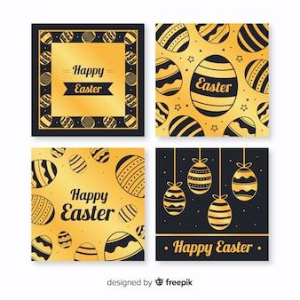 Collection de cartes de pâques en noir et or
