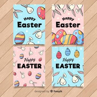 Collection de cartes de pâques oeufs et lapins dessinés à la main