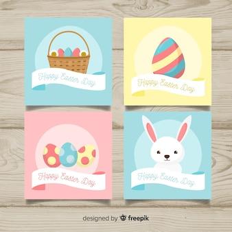 Collection de cartes de pâques plat simple