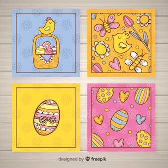 Collection de cartes de pâques poulet dessinés à la main