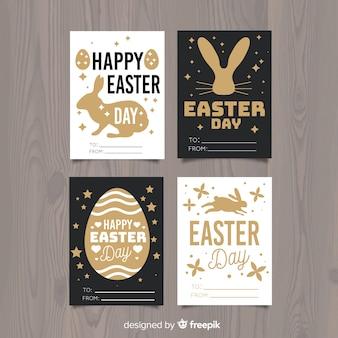 Collection de cartes de pâques silhouette lapin