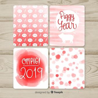 Collection de cartes piggy year 2019