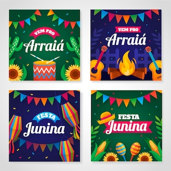 Collection de cartes plates festa junina