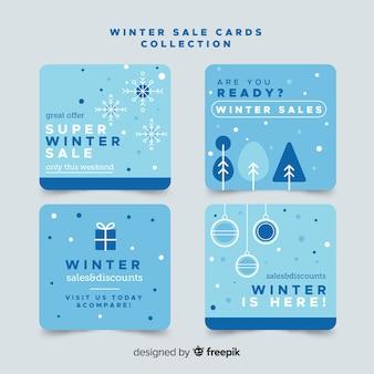 Collection de cartes plates pour soldes d'hiver