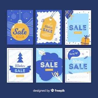 Collection de cartes plates de soldes d'hiver