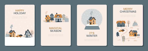 Collection de cartes postales d'hiver illustration vectorielle avec des maisons confortables sapins arbres montagnes voiture
