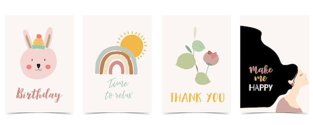 Collection de cartes postales pour enfants avec feuille, arc-en-ciel, soleil. illustration vectorielle modifiable pour site web, invitation, carte postale et autocollant