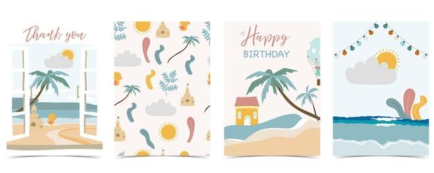 Collection de cartes postales pour enfants avec sable, mer, soleil. illustration vectorielle modifiable pour site web, invitation, carte postale et autocollant