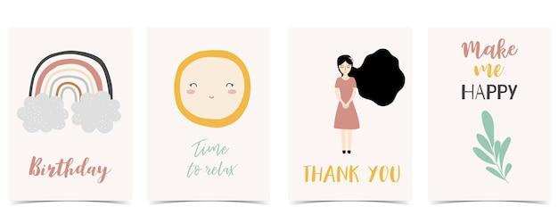 Collection de cartes postales pour enfants avec soleil feuille arc-en-ciel