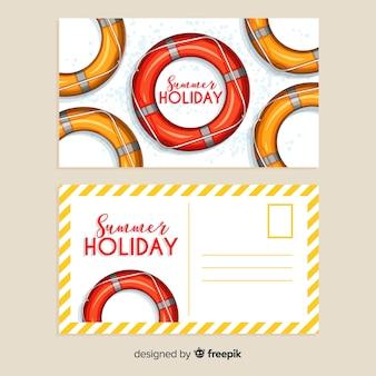 Collection de cartes postales de vacances d'été réaliste