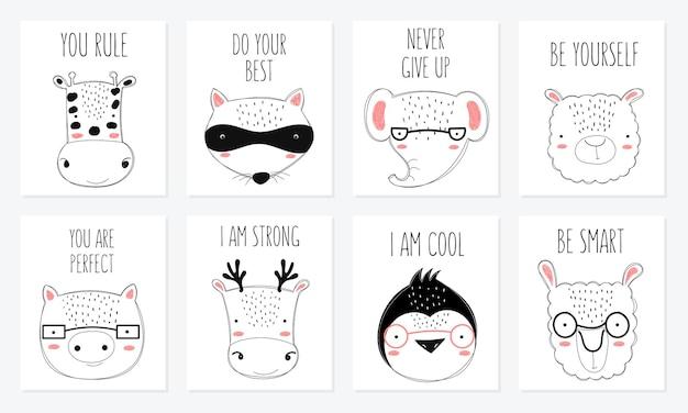 Collection de cartes postales vectorielles avec des animaux mignons de griffonnage et une phrase de motivation. parfait pour poster, anniversaire, livre de bébé, chambre d'enfant, anniversaire, baby shower