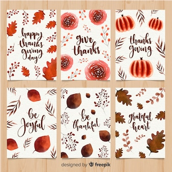 Collection de cartes pour le jour de thanksgiving à l'aquarelle
