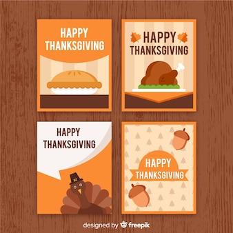 Collection de cartes pour le jour de thanksgiving en design plat