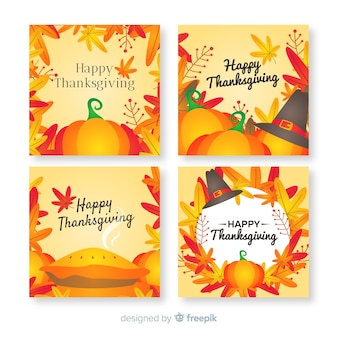 Collection de cartes pour le jour de thanksgiving en design plat