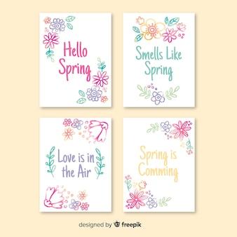 Collection de cartes de printemps aquarelle