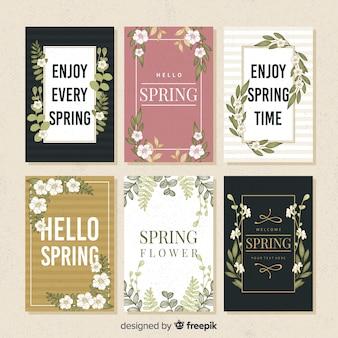Collection de cartes de printemps dessinés à la main