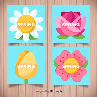 Collection de cartes de printemps fleurs plates