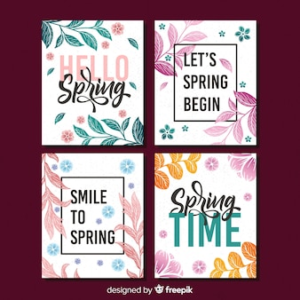 Collection de cartes de printemps de lettrage