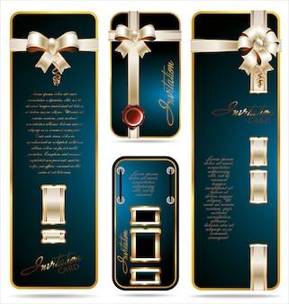 Collection de cartes de réduction ou de cadeaux avec des rubans